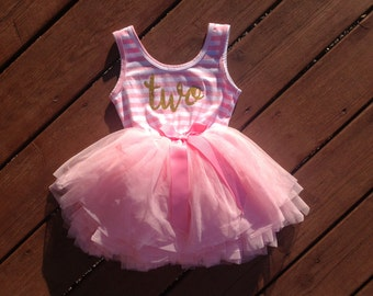 Second Birthday Dress - Pink and Gold