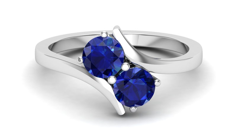 1.39ct Lab Created AAA Blue Sapphire Round Shape in Rhodium Plated Engagement Ring Unique Bridal Art Deco Ring for Women Gift Christmas gift