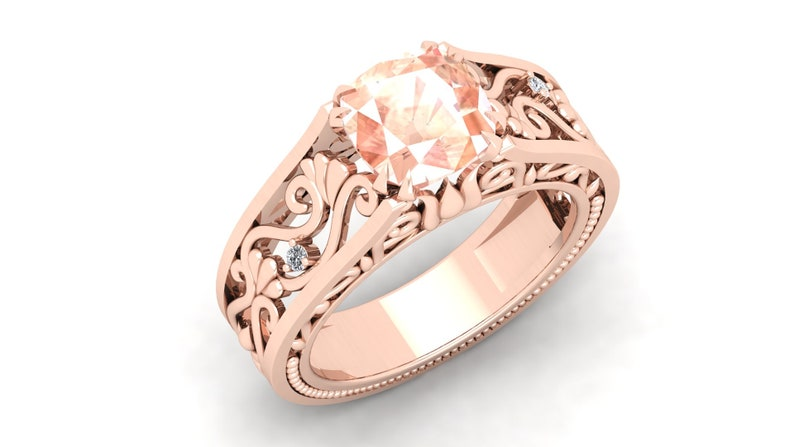 2.60cts Peach Morganite Gemstone Wedding Ring For Bride Antique Vintage Art deco Cushion 8.00 Peach Stone Ring For Love Gift For Birthday