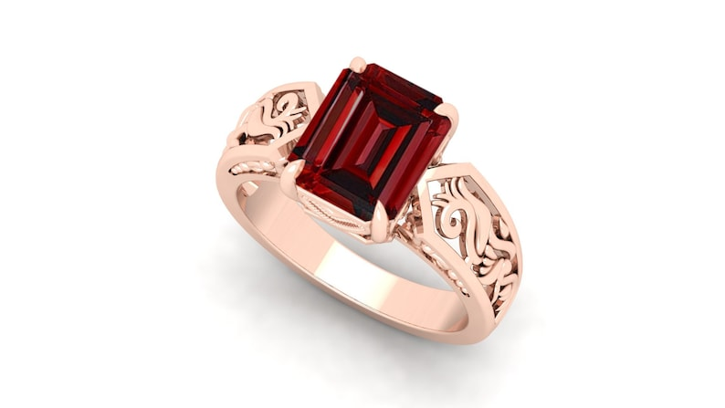 3.40cts AAA Natural Red Garnet Wedding Bridal Ring For Her,Antique Ring,Vintage Art deco Octagon Red Stone Ring*Gift For Love* Filigree Ring