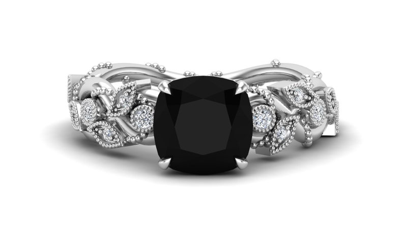 Vintage Art deco Ring AAA Natural Black Onyx Gemstone Engagement Ring Gift For Wife,Her Bridal Moissanite Ring Antique Leaf Ring 2.70ct