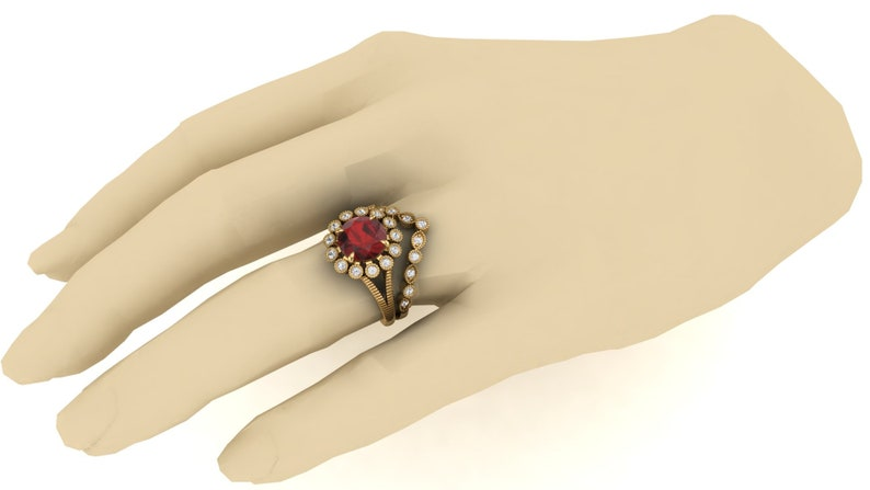 2.40ct AAA Natural Red Garnet /& Moissanite in 14K Yellow Gold Plated Engagement Ring Vintage Art Deco Antique Flower Ring for Women Gift