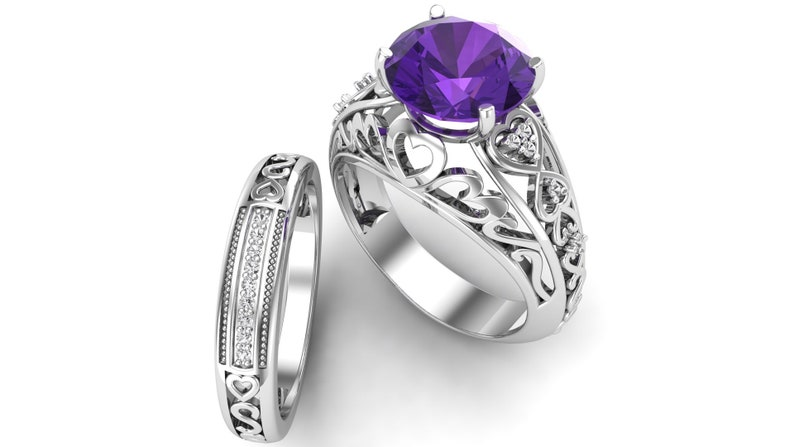 Bridal Moissanite Ring Set 2.88ct AAA African Amethyst Gemstone and Pave Set Engagement Ring Set Purple Stone Ring Christmas Gift For Her