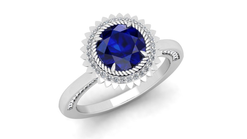 Flower Floral Ring Antique Vintage Art deco Round Blue Stone Ring Moissanite Ring 2.25cts Blue Sapphire Engagement Bridal Ring For Women