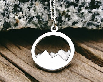 5c932275a61 Sterling Silver Mountain Range Charm / Necklace Travel Ski Fresh Air  Snowboard / Hiker Alps Camping Outdoors Pendant 1532