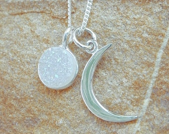 925 Sterling Silver Crescent Moon Pendant Necklace Night Celestial Sky 1196