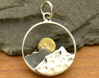 Sterling Silver Rising Sun Mountain Pendant Necklace / Mixed Metal Bronze / Travel Adventure Ski / Air Hiker Sunset Camping Outdoors 3115