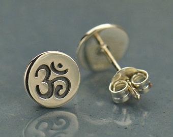 70999af49 Om Earrings Yoga Jewelry Post Earrings Ohm Aum Disk Stud Namaste 925  Sterling Silver Butterfly Back 1552