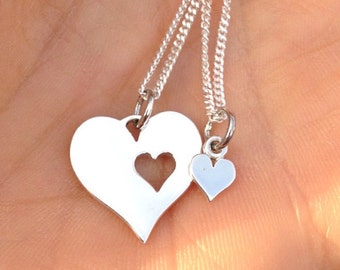 Heart Mother Daughter Necklace Set / 925 Sterling Silver Pendant / Sisters Best Friends Love Hearts / Valentines Jewelry Jewellery UK 1398