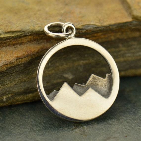 Sterling Silver Bronze Sun Mountain Pendant Necklace Travel Adventure Ski 3115