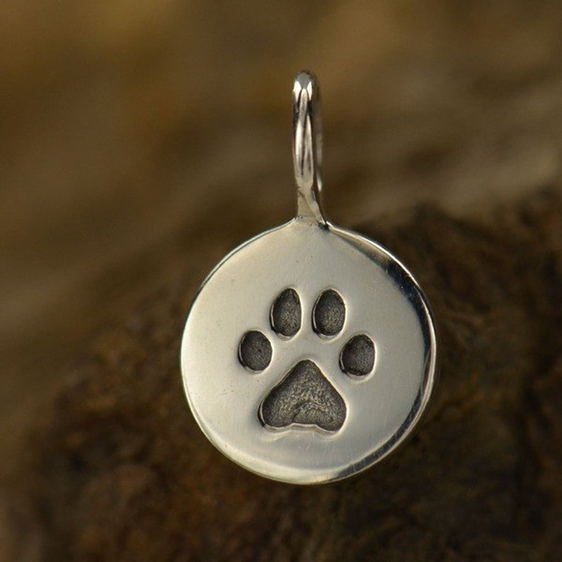 925 Sterling Silver Dog Paw Tag Vertical Charm Animal Lover Vet Necklace 772