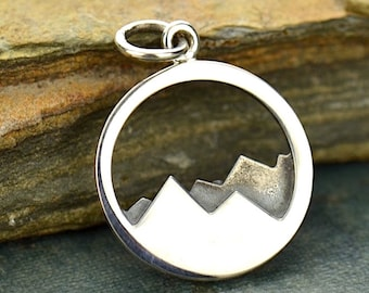Sterling Silver Mountain Range Charm / Necklace Travel Ski Fresh Air Snowboard / Hiker Alps Camping Outdoors Pendant 1532