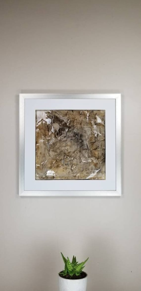 """Dry Knot, by Gemstones of Gypsum, hand carved modern wall art, rock texture, watercolors, glass like finish, 17x17"""", silver aluminum frame"""