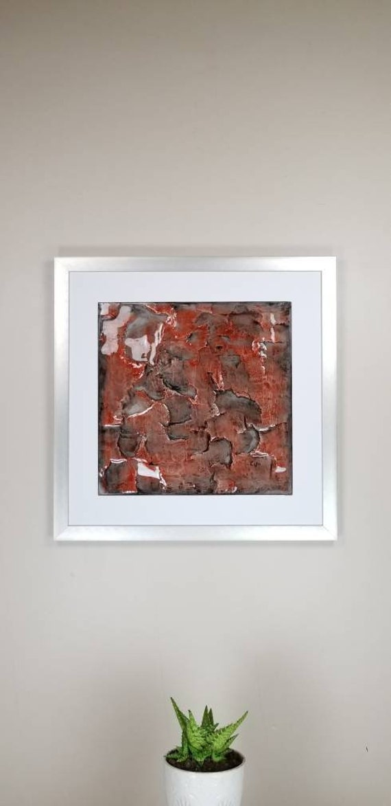 """Garnet, by Gemstones of Gypsum, hand carved modern wall art, rock texture, watercolors, glass like finish, 17x17"""", silver aluminum frame"""