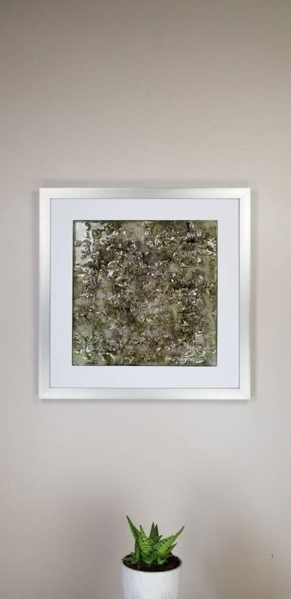 """Olivine, by Gemstones of Gypsum, hand carved modern wall art, rock texture, watercolors, glass like finish, 17x17"""", silver aluminum frame"""