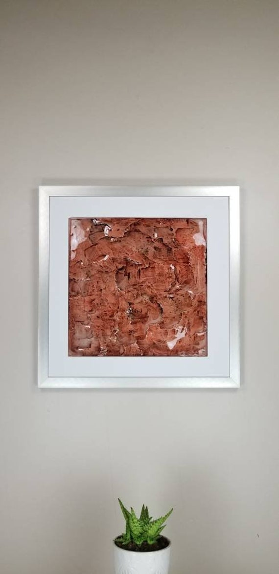 """Red Jade, by Gemstones of Gypsum, hand carved modern wall art, rock texture, watercolors, glass like finish, 17x17"""", silver aluminum frame"""
