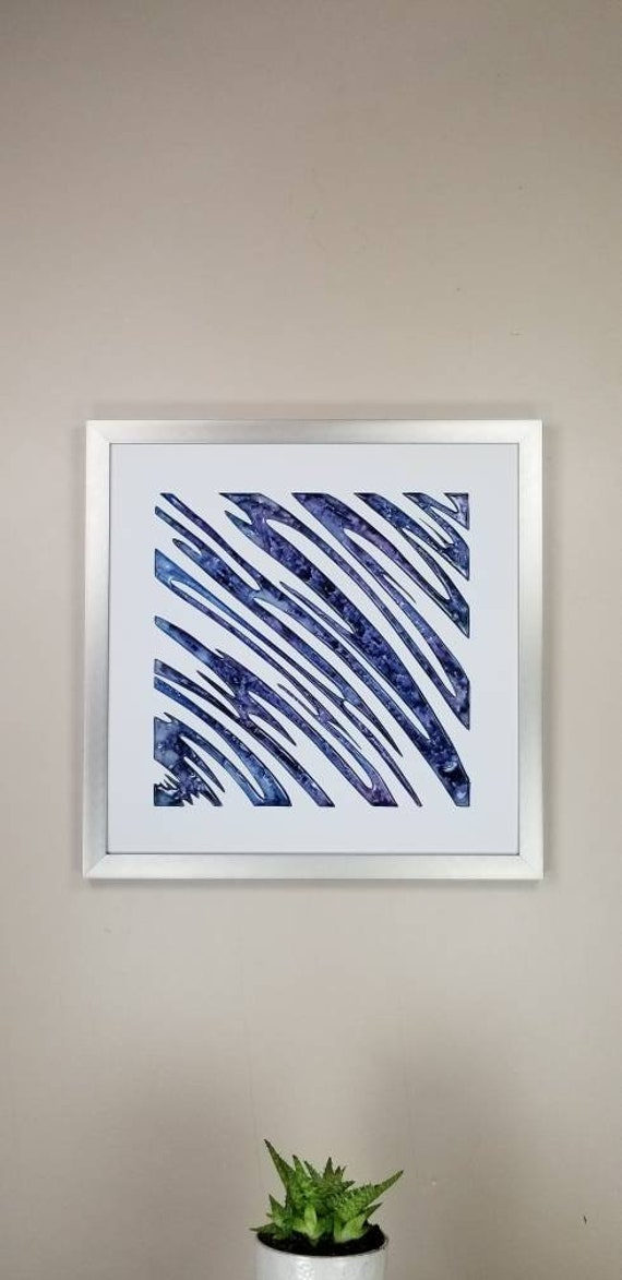 """Squiggle, by Gemstones of Gypsum, hand carved modern wall art, rock texture, watercolors, glass like finish, 17x17"""", silver aluminum frame"""