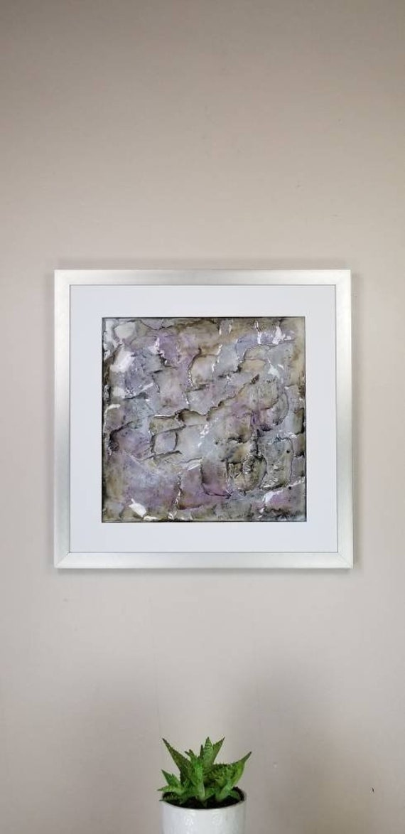 "Violet Dillute, by Gemstones of Gypsum, hand carved wall art, rock texture, watercolors, glass like finish, 17x17"", silver aluminum frame"