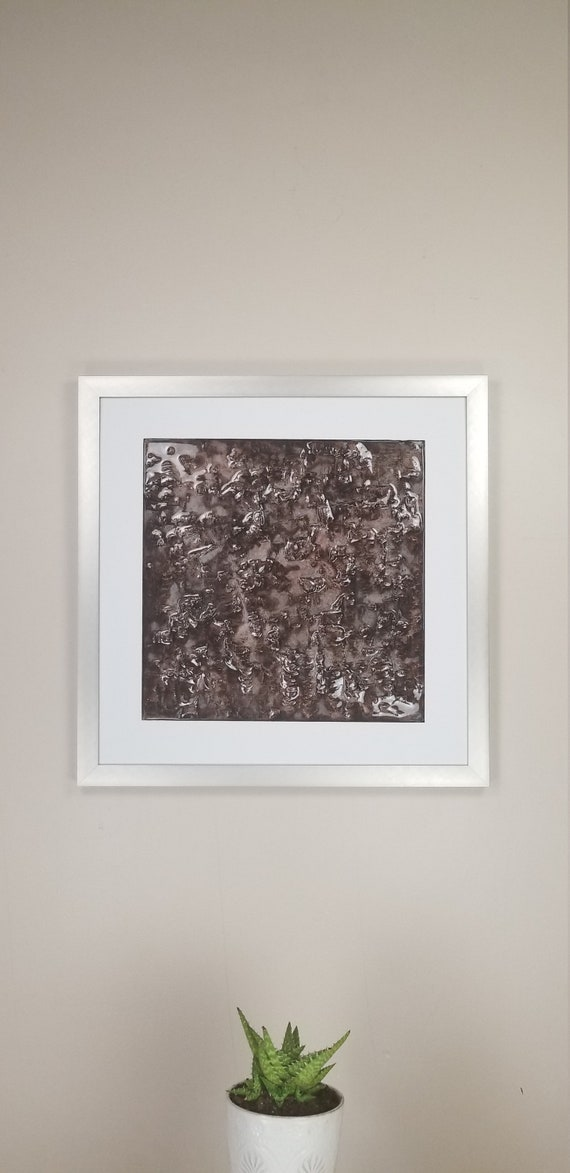 Blackberry Bramble, by Gemstones of Gypsum, hand carved wall art, rock texture, watercolors, glass like finish, 17x17, silver aluminum frame