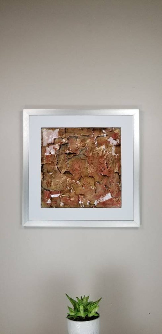 """Gold Maroon, by Gemstones of Gypsum, hand carved modern art, rock texture, watercolors, glass like finish, 17x17"""", silver aluminum frame"""