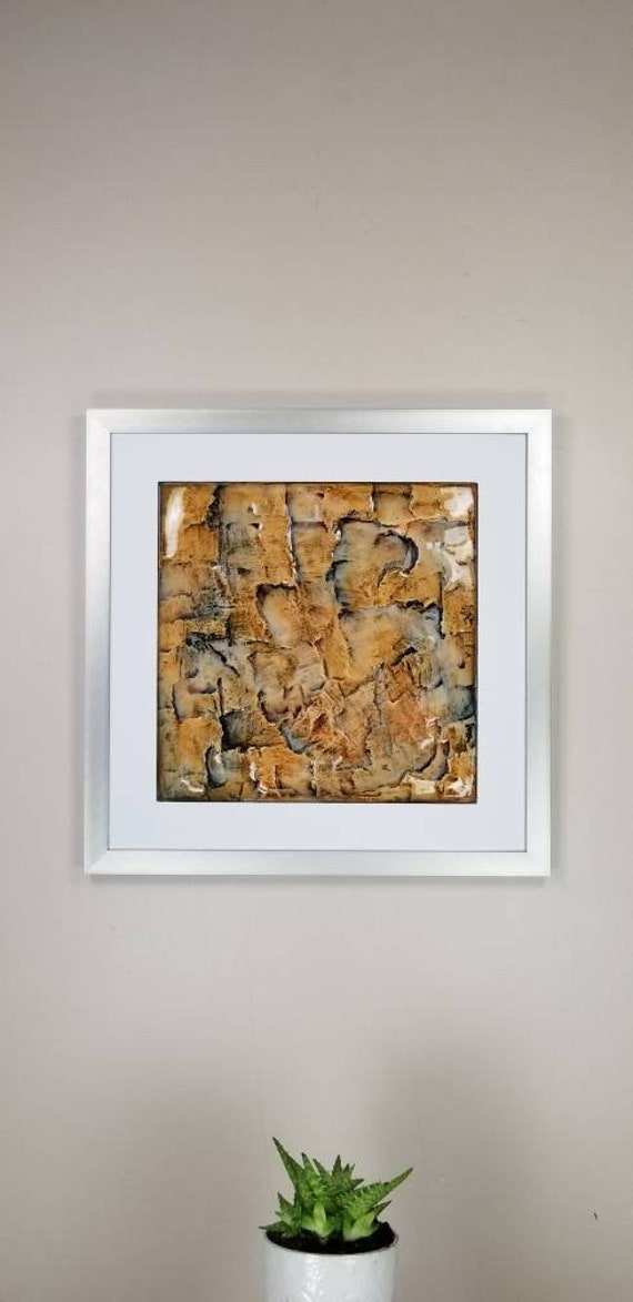 """Wax, by Gemstones of Gypsum, hand carved modern wall art, rock texture, watercolors, glass like finish, 17x17"""", silver aluminum frame"""