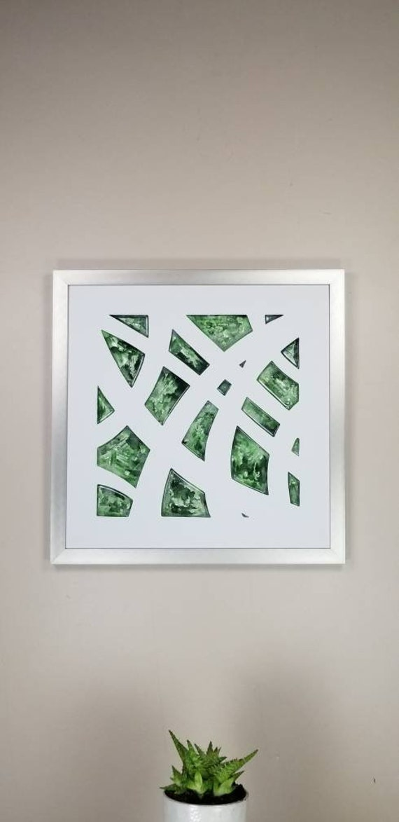 """Net Weave, by Gemstones of Gypsum, hand carved modern wall art, rock texture, watercolors, glass like finish, 17x17"""", silver aluminum frame"""