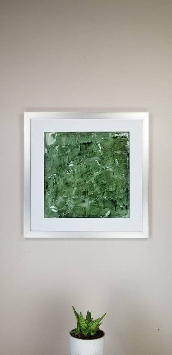 """Green Marble, by Gemstones of Gypsum, hand carved wall art, rock texture, watercolors, glass like finish, 17x17"""", silver aluminum frame"""