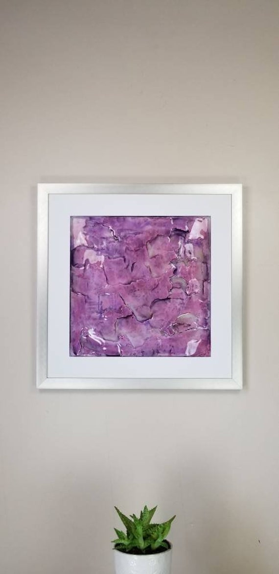 "Orchid, by Gemstones of Gypsum, hand carved modern wall art, rock texture, watercolors, glass like finish, 17x17"", silver aluminum frame"