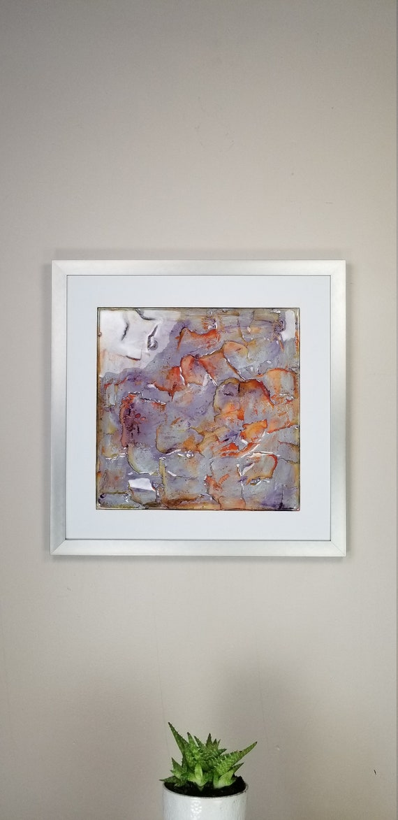 """Salamander, by Gemstones of Gypsum, hand carved modern wall art, rock texture, watercolors, glass like finish, 17x17"""", silver aluminum frame"""