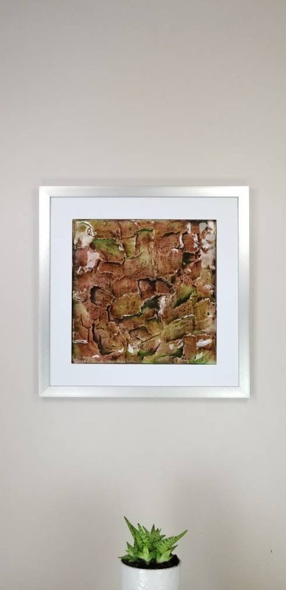 """Muddy, by Gemstones of Gypsum, hand carved modern wall art, rock texture, watercolors, glass like finish, 17x17"""", silver aluminum frame"""