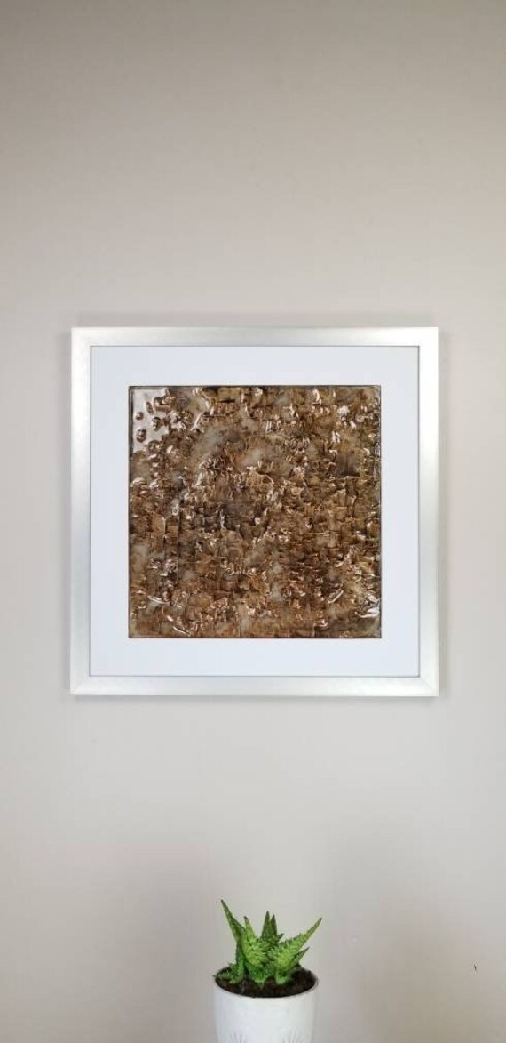 """Igneous Brown, by Gemstones of Gypsum, hand carved wall art, rock texture, watercolors, glass like finish, 17x17"""", silver aluminum frame"""