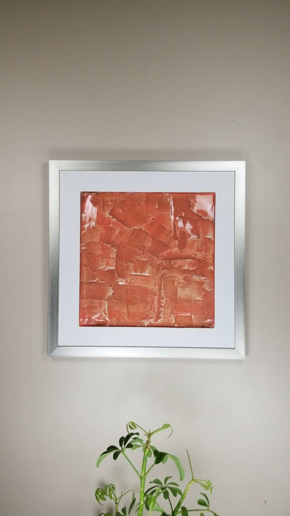 "Pink Beige, by Gemstones of Gypsum, hand carved modern wall art, rock texture, watercolors, glass like finish, 17x17"", silver aluminum frame"