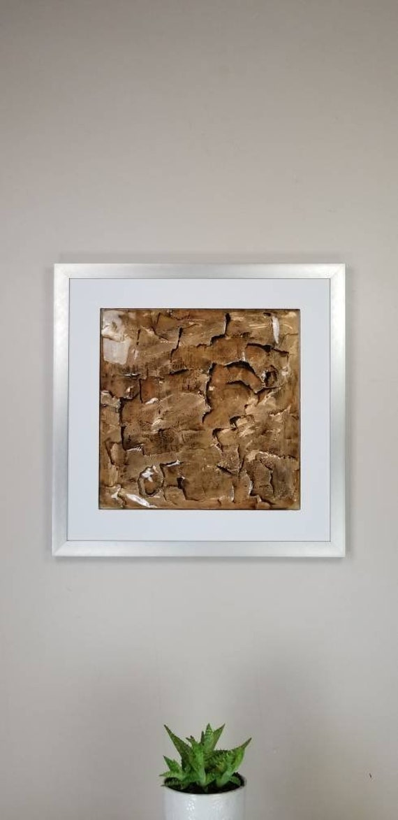 "Gold Ore, by Gemstones of Gypsum, hand carved modern wall art, rock texture, watercolors, glass like finish, 17x17"", silver aluminum frame"