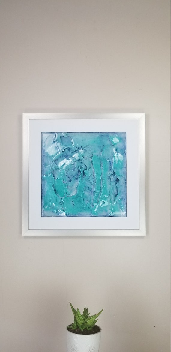 """Teal Endeavor, by Gemstones of Gypsum, hand carved wall art, rock texture, watercolors, glass like finish, 17x17"""", silver aluminum frame"""