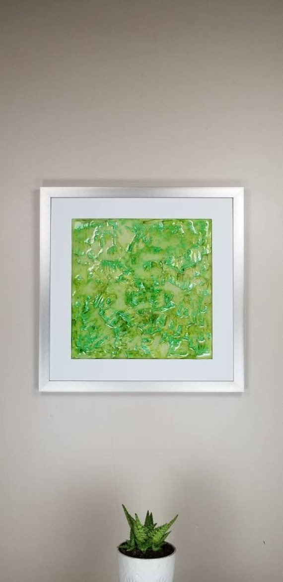 """Autunite, by Gemstones of Gypsum, hand carved modern wall art, rock texture, watercolors, glass like finish, 17x17"""", silver aluminum frame"""