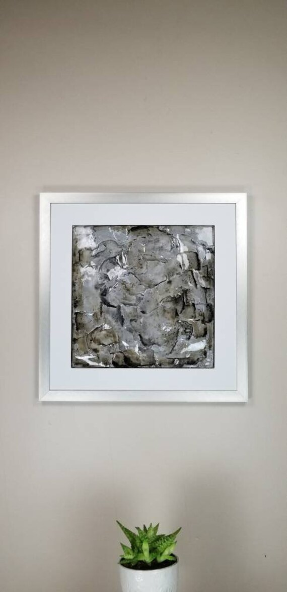 """Lead, by Gemstones of Gypsum, hand carved modern wall art, rock texture, watercolors, glass like finish, 17x17"""", silver aluminum frame"""