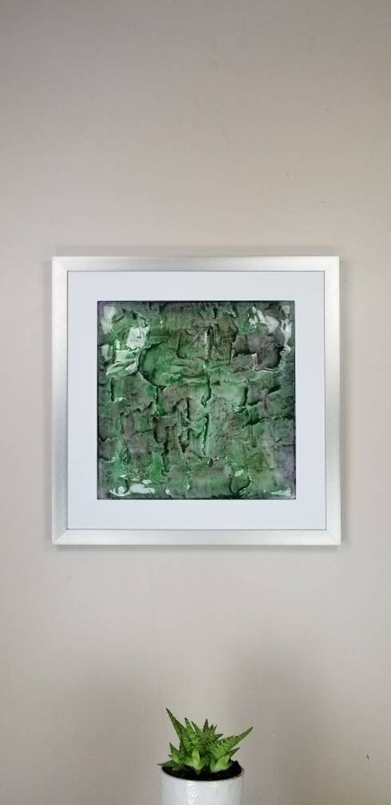 """Algae, by Gemstones of Gypsum, hand carved modern wall art, rock texture, watercolors, glass like finish, 17x17"""", silver aluminum frame"""