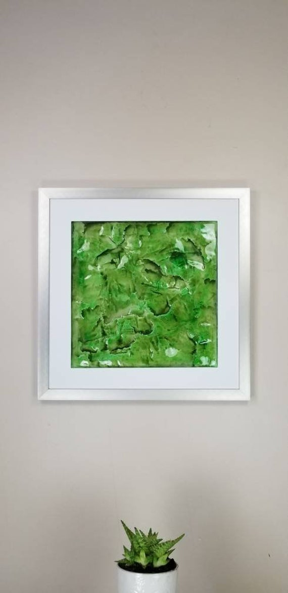 """Lime, by Gemstones of Gypsum, hand carved modern wall art, rock texture, watercolors, glass like finish, 17x17"""", silver aluminum frame"""