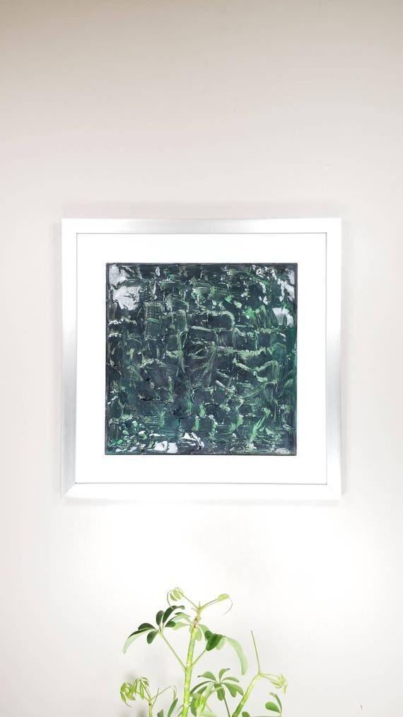 """Wormscape , by Gemstones of Gypsum, hand carved modern art, rock texture, watercolors, glass like finish, 17x17"""", silver aluminum frame"""