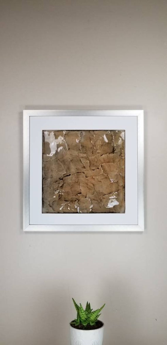 """Clay, by Gemstones of Gypsum, hand carved modern wall art, rock texture, watercolors, glass like finish, 17x17"""", silver aluminum frame"""