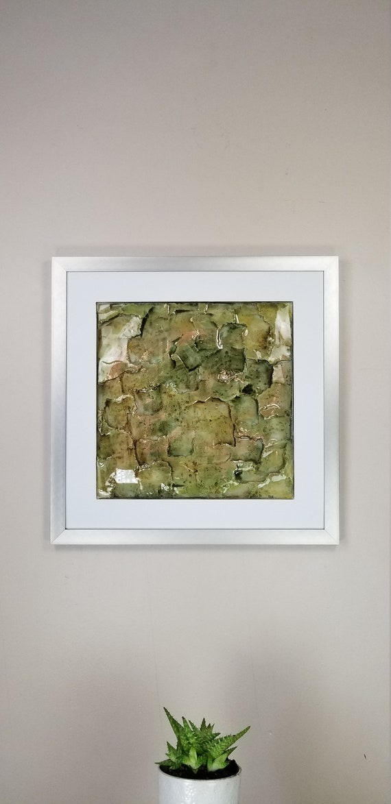 """Grassy Gold, by Gemstones of Gypsum, hand carved modern art, rock texture, watercolors, glass like finish, 17x17"""", silver aluminum frame"""