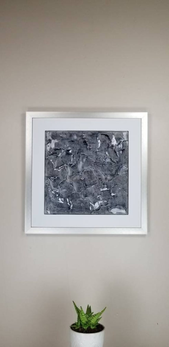 """Slate, by Gemstones of Gypsum, hand carved modern wall art, rock texture, watercolors, glass like finish, 17x17"""", silver aluminum frame"""