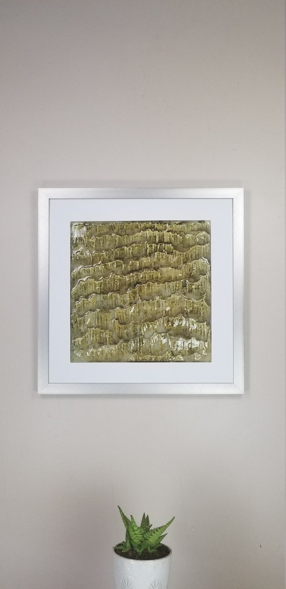 """Peridot Olivine, by Gemstones of Gypsum, hand carved wall art, rock texture, watercolors, glass like finish, 17x17"""", silver aluminum frame"""