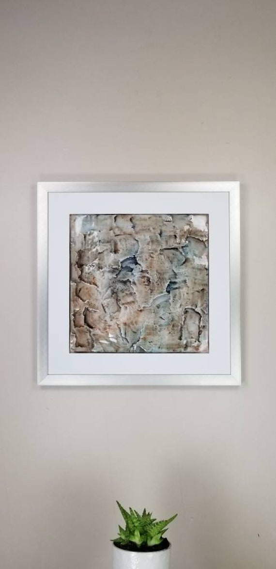 """Palido, by Gemstones of Gypsum, hand carved modern wall art, rock texture, watercolors, glass like finish, 17x17"""", silver aluminum frame"""