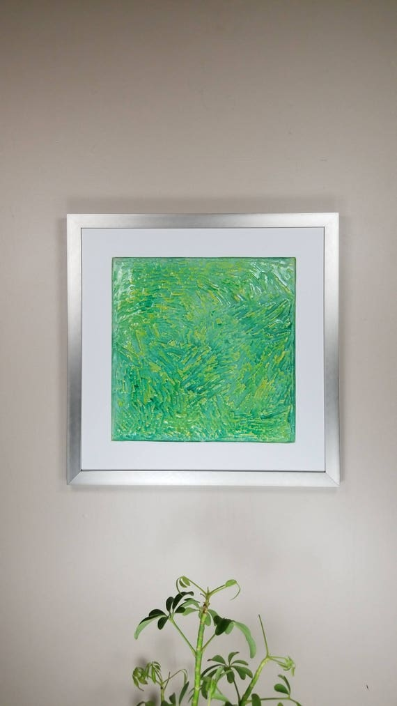 "Green Swirls, by Gemstones of Gypsum, hand carved wall art, rock texture, watercolors, glass like finish, 17x17"", silver aluminum frame"
