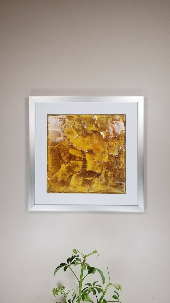 "Man In Yellow, by Gemstones of Gypsum, hand carved wall art, rock texture, watercolors, glass like finish, 17x17"", silver aluminum frame"