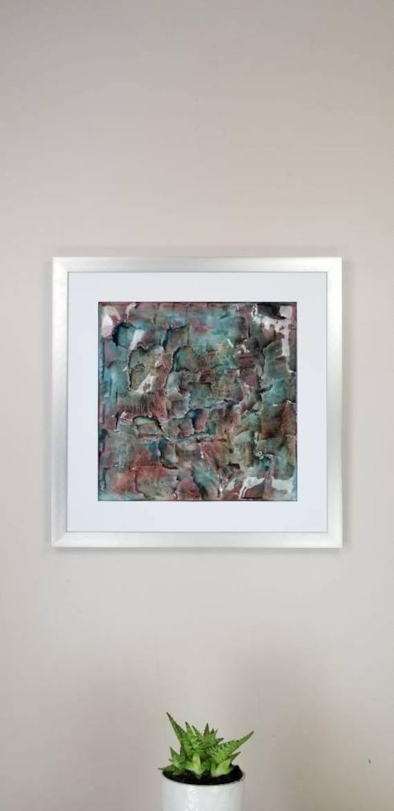 """Teal Maroon, by Gemstones of Gypsum, hand carved modern art, rock texture, watercolors, glass like finish, 17x17"""", silver aluminum frame"""