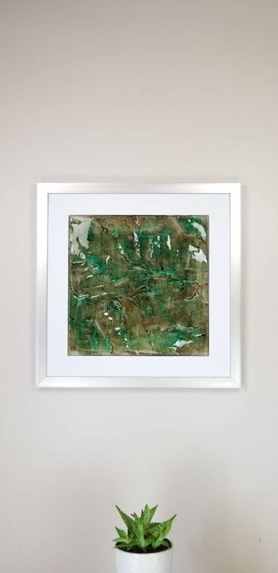 "Green Fluorite, by Gemstones of Gypsum, hand carved wall art, rock texture, watercolors, glass like finish, 17x17"", silver aluminum frame"