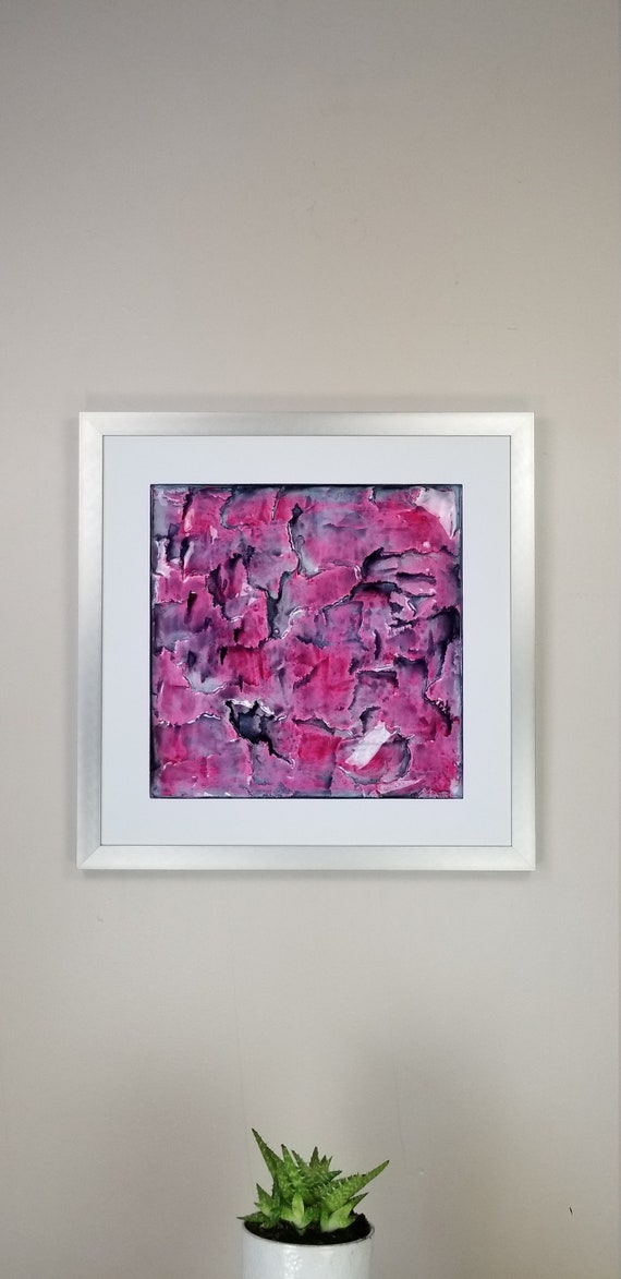 """Candy, by Gemstones of Gypsum, hand carved modern wall art, rock texture, watercolors, glass like finish, 17x17"""", silver aluminum frame"""
