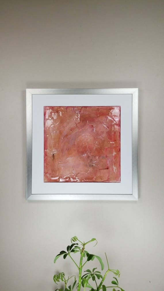 """Pink Fluorite, by Gemstones of Gypsum, hand carved modern art, rock texture, watercolors, glass like finish, 17x17"""", silver aluminum frame"""